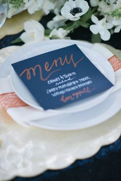 wedding menu with calligraphy, photo by Jordan Weiland http://ruffledblog.com/opulent-florida-wedding-inspiration #weddingideas #papergoods