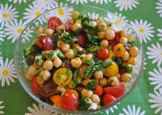 CHICKPEA SUMMER SALAD WITH TOMATOES & CILANTRO...helps to reduce cholesterol.