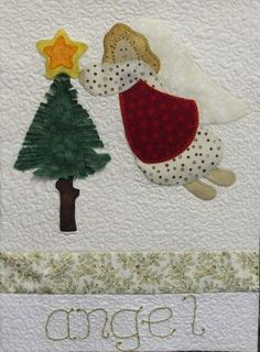 Angel wall hanging for Christmas, by Frayed at the Edge (UK)
