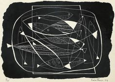 Esaias Thorén (1901-1981), Composition with Fish, 1952, lithograph