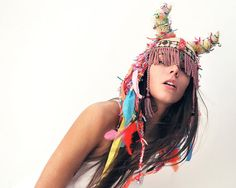 White tribal crochet UTHA hat... colorful and cool ..shaman style hat with horns......summer hat