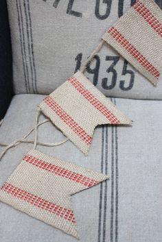 left over furniture bunting reposed burlap bunting love this