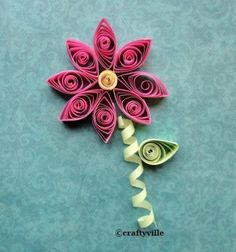 quill pattern, flower quill, easy quilling patterns, stem flower, how to quill flowers, spiral, free flower