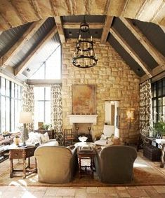 lots of light in this timber frame home.  Gorgeous wall of rock!