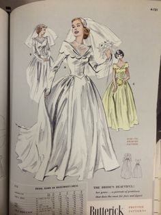 Wedding gown pattern from a 1956 Butterick catalog. #butterick #vintagesewing #vintagebride