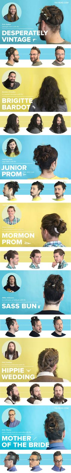 Guys With Fancy Lady Hair CAN'T STOP LAUGHING the 'Sass Bun' omg