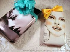 Use a magazine photo to wrap a package, then add a bow to make it look like its in the woman's hair!