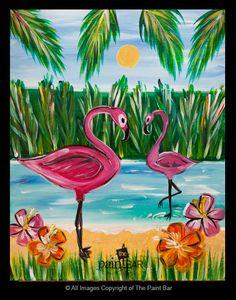 Tropical Flamingos Painting - Jackie Schon, The Paint Bar