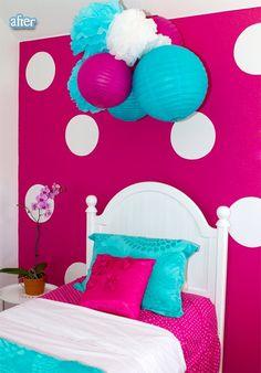 Pink polka dot wall, girls room.