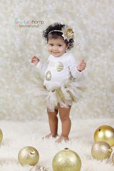 Beautiful baby, awesome photography, tutu & bow, christmas, holiday, gold & creme, curly hair, baby girl, cute, adorable, darling, gorgeous