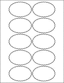 "3"" x 2"" Scalloped Border Oval Labels - Decorative Label Design"