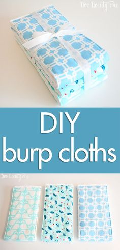 Another pattern for DIY burp cloths for a friend's shower! Perfect handmade gift and easy to sew!