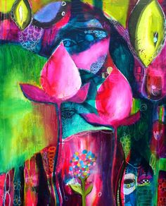 NOT Flora Bowley, but similar.  Large Surreal Abstract Floral   Mystic Garden in Rich by Jodi Ohl  24 x 30