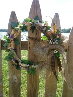 Burlap bow cork wreath a lot of fun to make