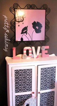 pink and gray damask nursery