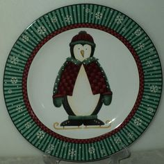 Sakura Debbie Mumm Penguins Christmas Holiday Green Penguin Salad Plate  - This Item is for sale at LB General Store http://stores.ebay.com/LB-General-Store ~Free Domestic Shipping