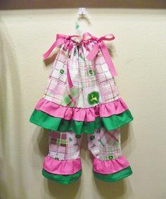 JOHN DEERE outfit set pillowcase dress top and by carolynavann, $43.00