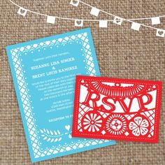 invitations that are papel picado if you ended up liking that as a theme-ish element (and colors are coincidentally what you were looking at!)