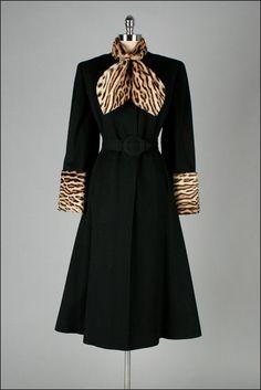 1940s Coat. Black Wool w/ Leopard Print Trim