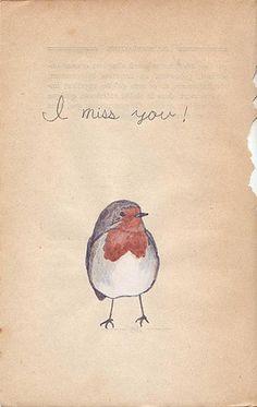 This little robin misses you! #illustration