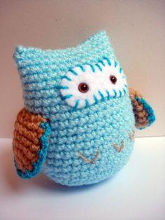 Blue Crochet Amigurumi Owl