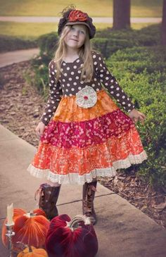 Fall Spice Dots & Lace Tiered Dress 2T to 10 Years Now In Stock