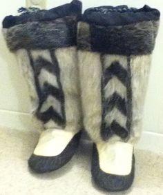 Inuit made sealskin kamiks by   Rita Nookiguak