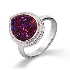 Add a splash of unique color with this Sterling Silver Cabled Pearcut Raspberry Drusy Ring #drusy #rings #sterlingsilver #pearcut