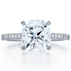 cushion engagement ring with a floating basket - Kwiat