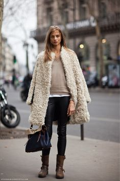 jacket, anna selezneva, winter looks, street styles, winter outfits, fur, brown boots, leather pants, coat