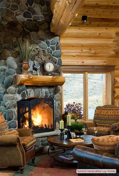 Fireplaces are a center of log living