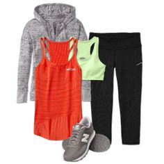 Bright pieces for pre- and post-run that wick away sweat: Batwing and Robin Jacket + Speedsetter Tank + Double Dare Bra + Be Free Knicker