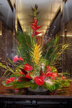Hotel lobby arrangement. No silk flowers here. silk flowers, hotel lobbi, hotel lobby, hotel flower arrangements, lobby flowers, lobbi arrang, easel