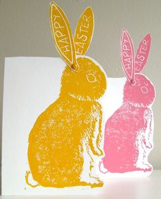 Items similar to Easter Bunny hand printed linocut Card Twin Set Pink Yellow on Etsy