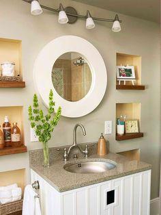 Bathroom wall niches.