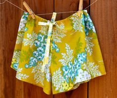 Cute and easy pajama shorts pattern- great to use up some left over fabric