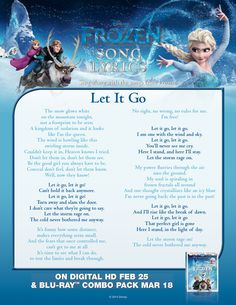 "Sing ""Let It Go"" with this lyric sheet."