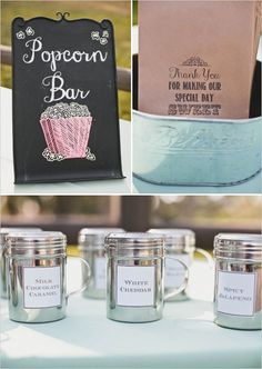Popcorn bar for your wedding or party! See more fun ideas from this LA wedding http://www.weddingchicks.com/2013/08/16/rustic-chic-wedding-2/