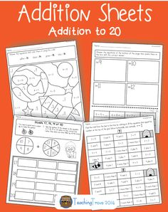 Twenty addition worksheets are contained in this pack to help provide extra addition practice for your students. Worksheets are grouped as follows: Sums of 5 to 8, Sums of 9 to 12, Sums of 13 to 16, Sums of 17 to 20. $