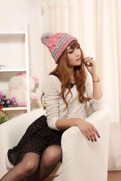 sweet knit hat woolen ball decorative button