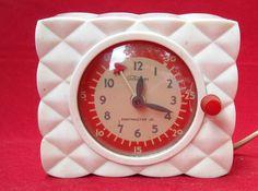 WORKING VINTAGE TELECHRON ART DECO KITCHEN CLOCK TIMER WHITE MINITMASTER