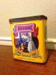 Milk Bone Dog Biscuit Tin / Old Tin / Advertisement Tin / Yellow Tin on Etsy, $7.99