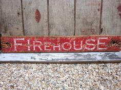 Rustic Distressed Firehouse Wood Fire Fighter by TheUnpolishedBarn, $69.99