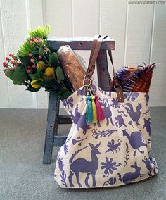 Lilac Otomi Totle Bag DIY via Paint + Pattern | Otomi Stencil by Royal Design Studio