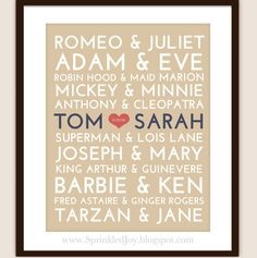 Famous couples plus one-cute idea for a wedding gift!
