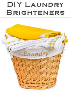 DIY Laundry Brighteners Colors: 1/2 cup vinegar to wash cycle Whites: 3/4 hydrogen peroxide to wash water, dissolve, add clothes and wash like normal