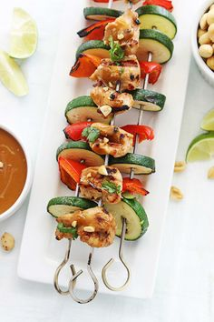 Thai Peanut Chicken Kabobs perfect for your Memorial Day cookout.