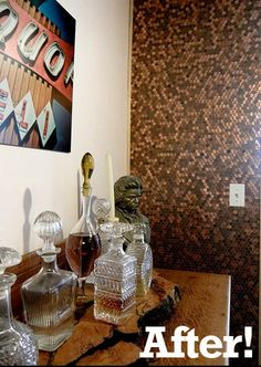 how to make an accent wall or art piece from pennies!  And this is the coolest website full of great ideas!!