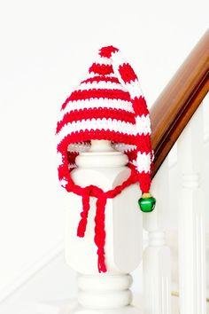 Baby Candy Cane Elf Hat Crochet Pattern via Hopeful Honey