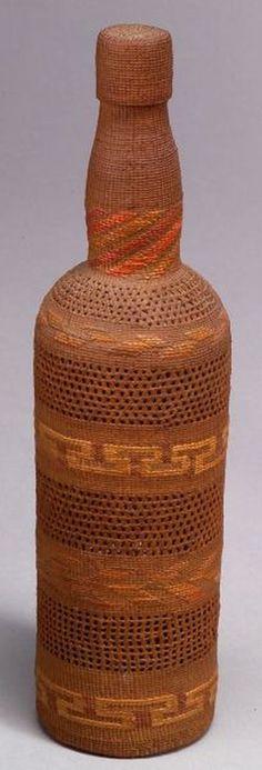 Northwest Coast Polychrome Twined Basketry Covered Bottle | Tlingit, c. 1900